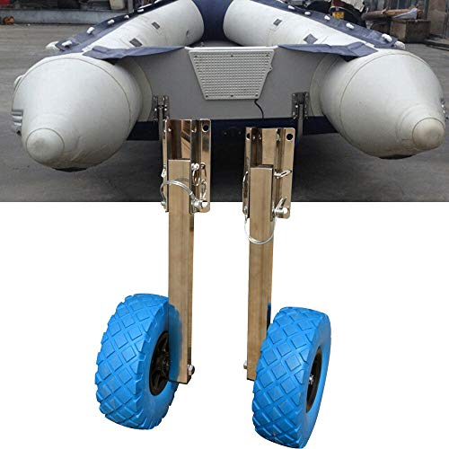 Dyrabrest Stainless Steel Boat Transom Launching Wheel Dolly for Inflatable Boat Dinghy Yacht 136KG...