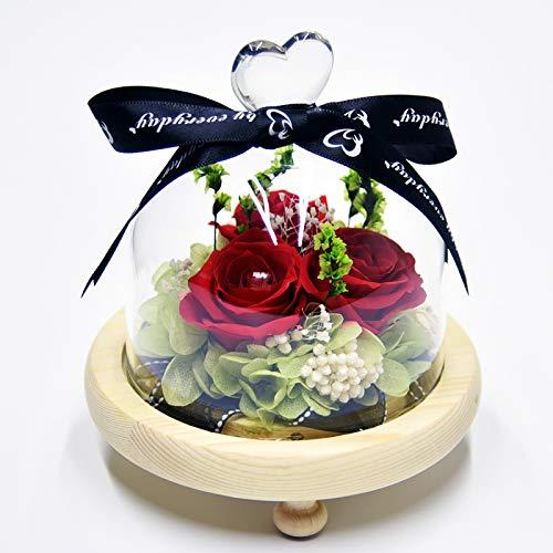 YeenGreen Rosa eterna, Flor Preservada Rosa Eterna Rosa Natural Presevada Rosa Eterna con Luces LED, para Bodas, cumpleaños, día de San Valentín, día de la Madre, Aniversario (3 Rosa)