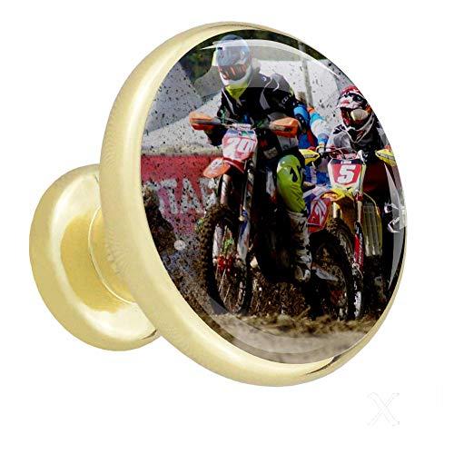 Xingruyun Manijas de Las Puertas Rally de Motos Perillas de gabinete Pomos y Tiradores Pomos para Muebles Cocina Gabinetes Cajón del Armario 4pcs 3.2×3.0cm