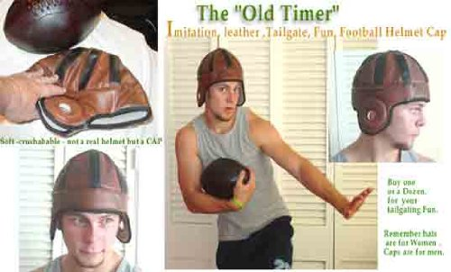 Past Time Sports Old Timer Leather Football Helmet Cap