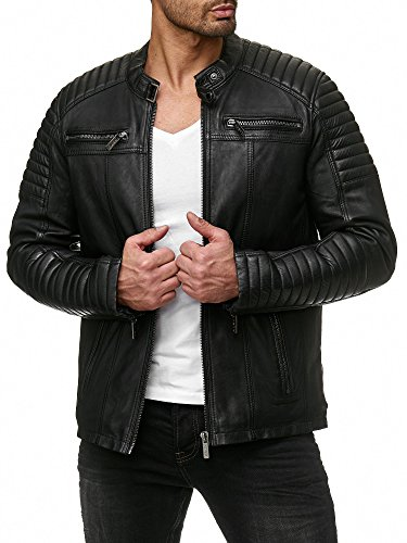 Redbridge Herren Jacke Übergangsjacke Biker Lederjacke Echtleder Kunstleder Baumwolle mit gesteppten Bereichen (S, Schwarz - Echtleder)