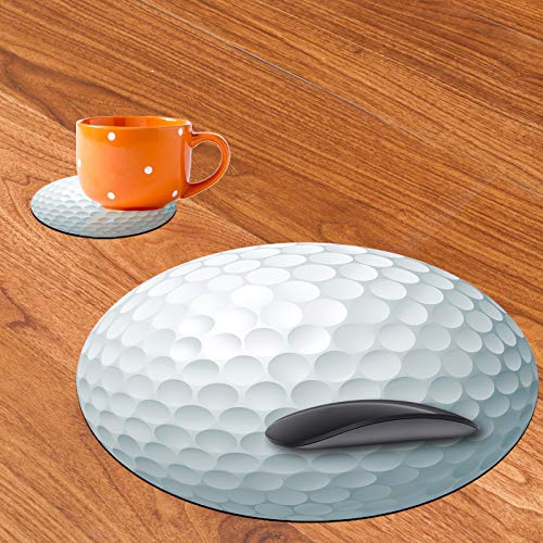 Personalized Round Mouse Pad and Coaster Set, Golf Ball Design Round Non-Slip Rubber Mouse Pads Office Desk Accessories for Computers Laptop