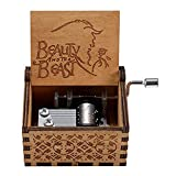 wooden beauty and beast music box, hand-cranked classic carved wooden music box for children's