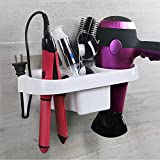 ZURATO Durable Plastic Wall Mounted Storage Hair Care Tools Holder for Blow Dryer, Straightener, Cosmetics, Toothbrush (No Drilling, Multicolor, Large)