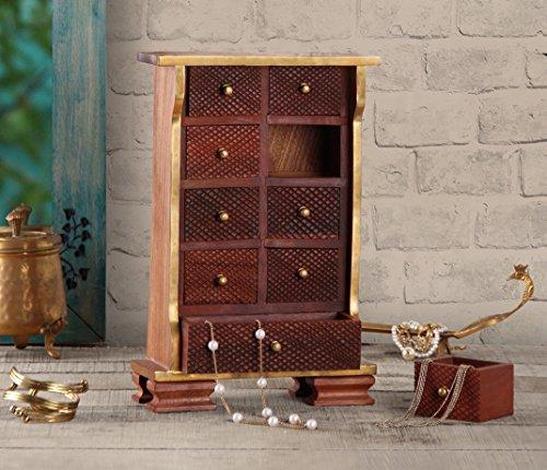 Store Indya, Piccolo Scrigno in Legno di 9 cassetti Armoire Jewelry Trinket Organizzatore, Ottone Floreale intarsio Home Decor