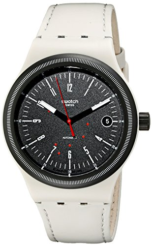 Swatch Unisex Analog Automatik Uhr mit Leder Armband SUTM400