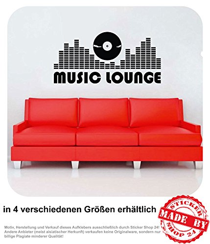 Wandtattoo Music Lounge Wohnzimmer Couch Sofa DJ Musik Wandaufkleber Aufkleber 30 Farben zur Auswahl (100,0 cm x 48,0 cm)