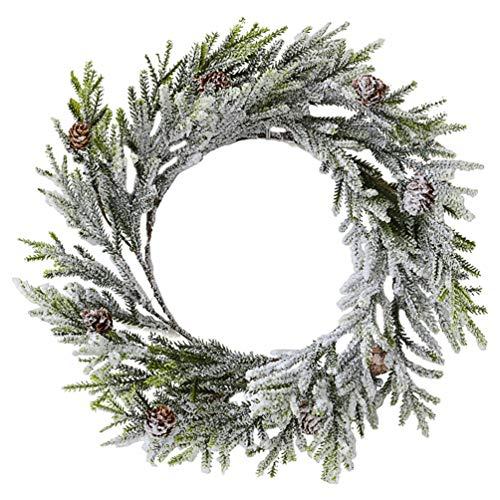 LUOEM Türkranz Schnee Weihnachtskranz mit Zapfen und Frost Dekokranz Weihnachten Wandkranz Deko Weihnachtsgirlande Winter Hochzeit Party Wand Tür Fenster Ornament 30 cm