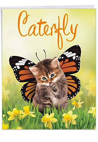 Caterfly - Cute Birthday Greeting Card with Envelope (Big 8.5 x 11 Inch) - Cute Cat with Butterfly Wings, Hallucination Animal Bday Norecard for Kids, Adults - Big Birthday Congratulations J9713