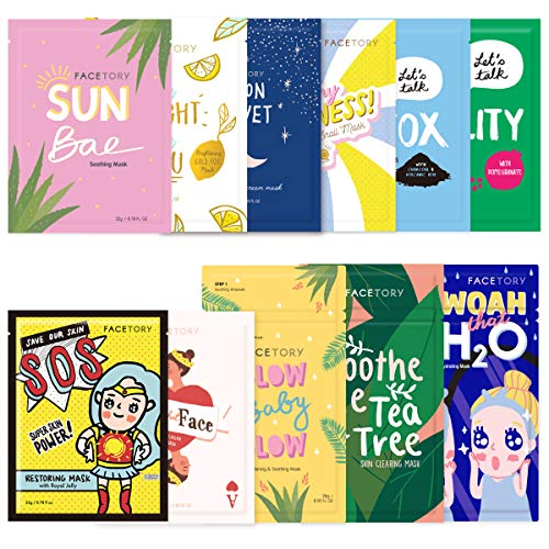 FaceTory Original 11 Face Sheet Mask Collection- Korean Skin Care Sheet Mask Pack of 11- Hydrating, Soothing, and Moisturizing - For All Skin Types