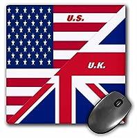 3drose LLC 8x 8x 0.25インチマウスパッド、米国とUKフラグ(MP 45083_ 1)