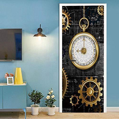 Papel pintado autoadhesivo para puerta, póster en 3D de relojes, para puerta, adhesivo para pared, adhesivo para puerta (70 x 200 cm)