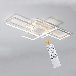 LED Modern Lámpara De Techo Sala De Estar Luz De Techo Regulable Diseño Rectangular Con Mando A Distancia Color De La Luz/brillo Ajustable Acrílico Metálico Oficina Lámpara Colgante,Blanco,90cm(80W)