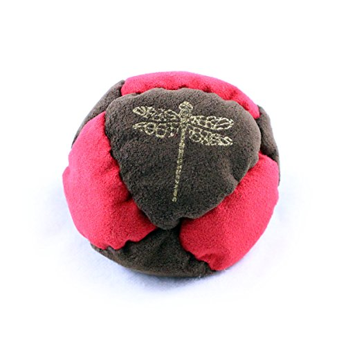 Dragonfly Footbags Brown and Red Pogo 8 Panel Metal Filled Proseries (Hacky Sack)