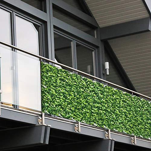 Balkon Sichtschutz PVC | 90x600 cm | Extra Blickdicht | Wetterfest | mit UV-Schutz | Deko für Balkongeländer | 6 Farben & Designs (Buchsbaum)