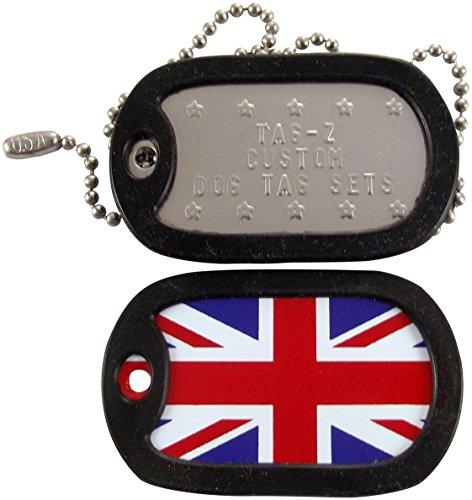 Tag-Z Military Dog Tags - Custom Embossed Dog Tag Set - British Flag - Union Jack