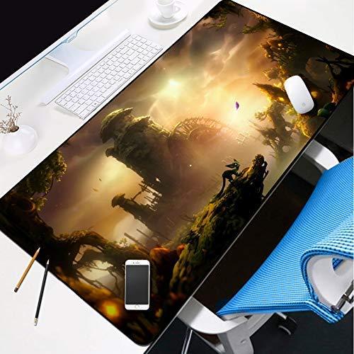 KCGNBQING Gaming Mouse Mat, Gaming Alfombrilla de ratón grande Gaming Mateo Almohadilla Historieta Colorido Cielo Colorido Mousepad Extremo Agua Resistente al agua Con Base de goma antideslizante, Pas