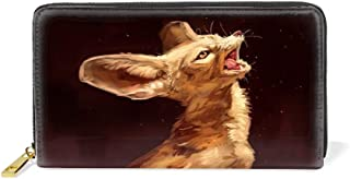 Women Printed Zip Around Wallet Cute Cartoon Foxes Leather Phone Clutch Travel Card Holder Purse