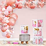 baby shower decorations for girl Kit,Transparent Balloons Box Decor with BABY letters for birthday parties, Garland arch kit with Rose Gold and Pink Balloons and a Mini Air Pump Included (138 PCs).