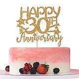 Gold Glitter Happy 30th Anniversary Cake Topper for Wedding Anniversary/Anniversary Party/Happy...