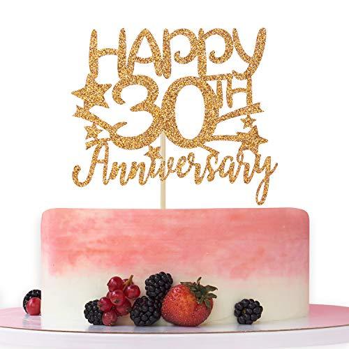 Gold Glitter Happy 30th Anniversary Cake Topper for Wedding...