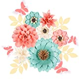 Fonder Mols 3D Handcrafted Paper Flower Decorations for Wall (Set of 16, Mint Peach Ivory), Monogram Sign Decorations, Girl Baby Shower Flowers, Girl Nursery Flowers Decor, Wedding Centerpiece