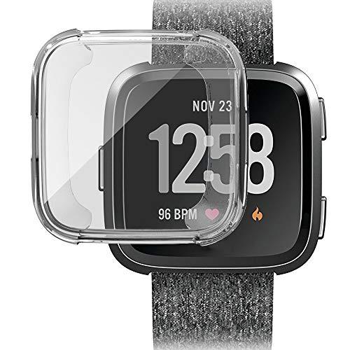 MMLC Fitbit Versa Hülle, Vollschutz Display Schutzhülle Zubehör Cover für Fitbit Versa Smartwatch (Clear)