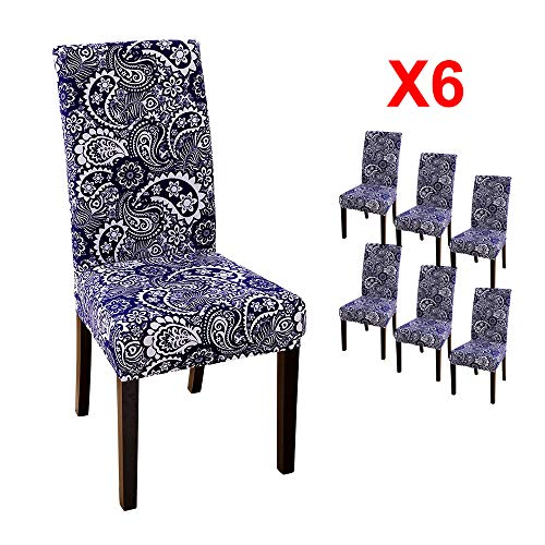 YIMEIS Comfort Stretch Dining Room Chair Covers, Four Seasons Dining Chair Protector, Removable Washable Short Dining Chair Seat Covers for Dining Room, Kitchen, Party (Pack of 6, F_Cyanobacteria)