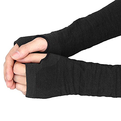 Allywit Women's Knitted Arm Warmer Gloves Warm Long Fingerless Mittens with Thumb Hole Gloves (Black) Photo #4