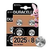 Duracell Pilas de botón de litio 2025 de 3 V, paquete de 8, con Tecnología Baby Secure, para uso en llaves con sensor magnético, básculas, elementos vestibles, Exclusivo de Amazon