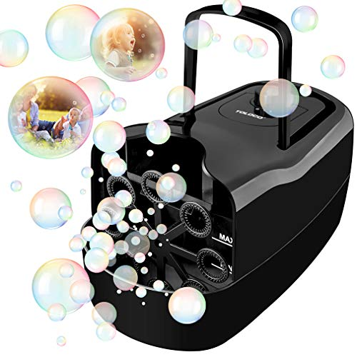 TOLOCO Bubble Machine,Automatic Bubble Blower Portable Bubble Maker for Kids,3000 Bubbles Per Minute,Plug-in or Batteries,for Outdoor/Indoor Party Birthday (Black)