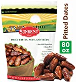 Sunbest Sun-Dried Pitted Dates in Resealable Bag,Premium Quality, Gluten Free - Non GMO - Vegan - Kosher (5 Lb)