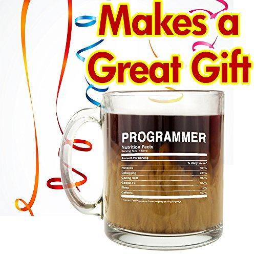 XXL Kaffeetasse aus Glas mit Fakten von Programmierern