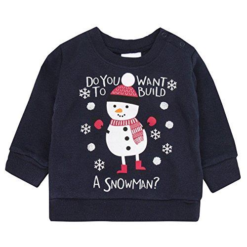4Kidz 4kidz Weihnachtspullover für Kinder, Jumper, Sweatshirt Gr. 74, Navy Build Snowman
