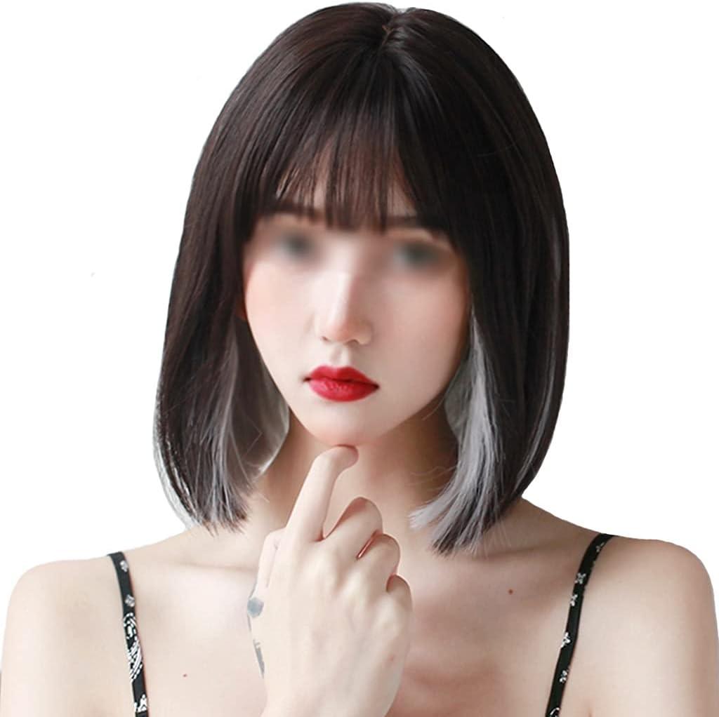 ZYCSKTL Peluca Pelo Natural Peluca Coreana De Bloques Cortos De Teñido Bob Head para Mujer, Conjunto De Peinado De Cara Redonda De Cabello Humano De Simulación, Mostrar Pasarela