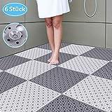 ZILINGO - Tappetino antiscivolo per doccia, 6 pezzi, 30 x 30 cm, con cuciture, antiscivolo, antibatterico, per vasca da bagno (bianco + grigio scuro)