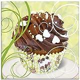Artland Glasbilder Wandbild Glas Bild einteilig 20x20 cm Quadratisch Cafe Essen Cupcake Kuchen Muffin Süßigkeiten Dessert T5KB