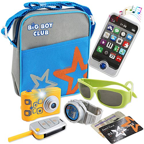 deAO Over the Shoulder Bag Play Set with Pretend Phone, Camera and Travel Accessories with Light and Sound Features Included – Great Pretend Play for Kids