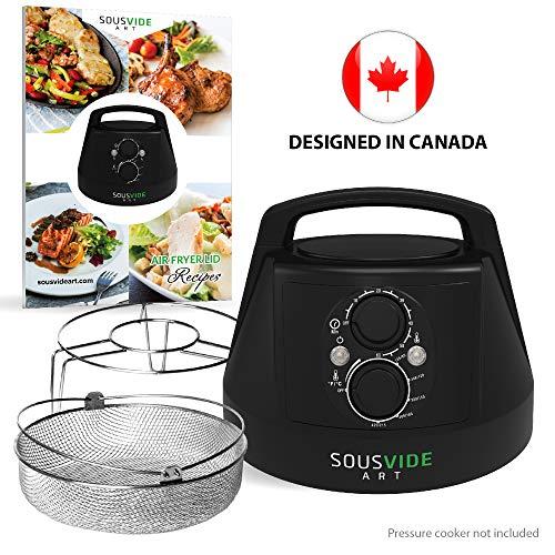 Air Fryer Lid for Instant Pot 6 Qt Pressure Cooker - Crisplid for Pressure Cooker - Turn Your 6Qt Pressure Cooker into Air Fryer - Kit of Airfryer Lid for Air Fryer Cooking, Basket, Rack, Cookbook