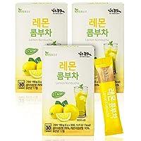 韓国産 コンブチャ 酵素ドリンク 5g x 30st kombucha レモン味 パウダー17種混合乳酸菌含む 低カロリー 炭酸飲料 ダイエット 飲み物健康な一杯 レモンと乳酸菌 (レモン味, 3セット)