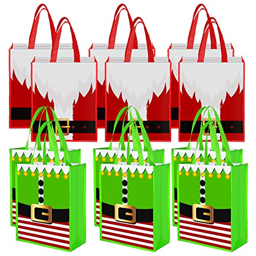 Aneco 12 Pieces Christmas Non-Woven Bags Santa Claus Suit Prints Gift Bags Elves Holiday Present Party Bag Non Woven Treat Bag, 13.8 x 11 x 4.7 Inches, 2 Designs