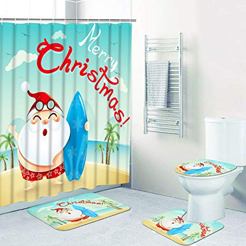 Ikfashoni 4 Pcs Merry Christmas Shower Curtains Set with Non-Slip Rugs, Toilet Lid Cover and Bath Mat, Cute Cartoon Santa Claus Shower Curtain with 12 Hooks, Xmas Shower Curtain for Bathroom