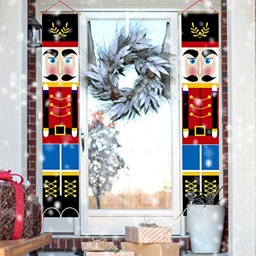 LUTER 2pcs Nutcracker Christmas Banners Outdoor Knight Banner Sentry Soldier Model Banner for Christmas Decorations, Indoor&Outdoor Decor Supplies(30×180cm/ 12×71 inch)