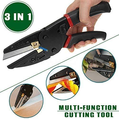 SYue Vielseitige Brechstangen 3-in-1-Gartengeräte Leistungsstarke Schneidwerkzeuge der Familie mit eingebautem Messerschneider, integriertem Drahtschneider Schwarz