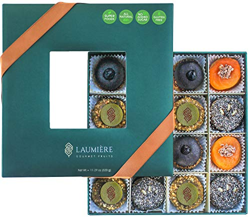 Laumière Gourmet Fruits | Superfood Parfait Collection | Healthy Gift Basket - Dried Fruit with Super Food - No Added Sugar | Gluten Free | Rectangle & Square (Square)