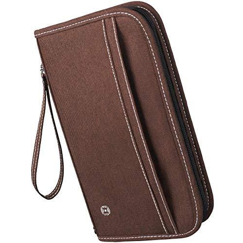 TRAWAYS Reisepasshülle - Trendige Reisepass Hülle mit RFID-Schutz - Passport Cover für alle wichtigen Pässe, Karten & Flugtickets - inkl. Umhänge-Straps & Abnehmbarer Handschlaufe (Braun)
