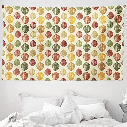 ABAKUHAUS Kakao Wandteppich & Tagesdecke, Bunte Bohnen Vintage Style, aus Weiches Mikrofaser Stoff Wand Dekoration Für Schlafzimmer, 230 x 140 cm, Mehrfarbig
