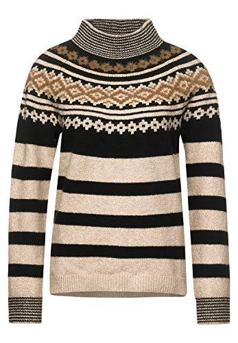 Street One Damen Pullover im Norweger-Style Almond Cream Melange 40