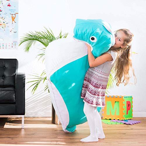 SMOOTHY Kindersitzsack Nessie - Tierform Sitzsack für Kinder - Kindermöbel Drache Stofftier aus Baumwolle