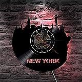 WTTA New York Skyline LP Record Clock New York City Sightseeing Reloj de Pared Vintage Reloj de Pared de Vinilo con iluminación LED